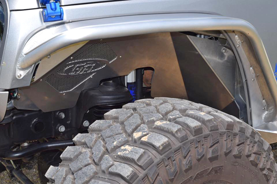 GenRight Aluminum Inner Fenders Installed on a Jeep JK (Raw Pictured)