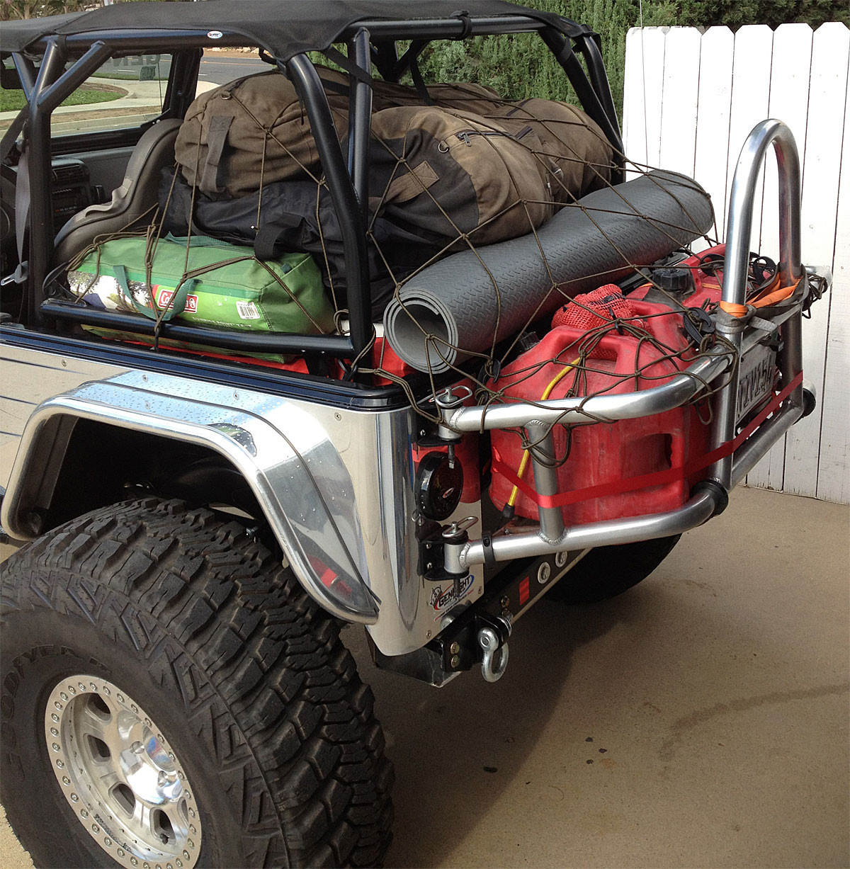 Tony uses the cargo rack for carrying extra gear to go camping on the Rubicon