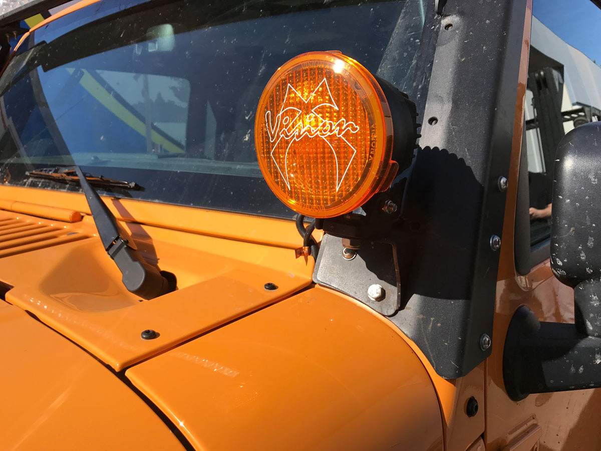 Jeep JK A-Pillar Light Mount Installed (shown with optional Cannon LED lights)