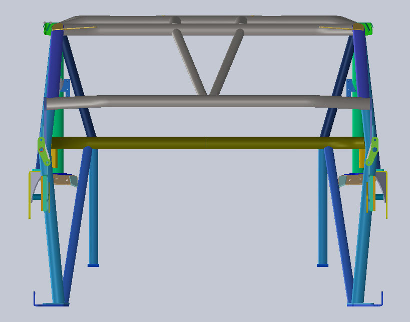 Front view shows how the dash V-bar ties into the upper tube