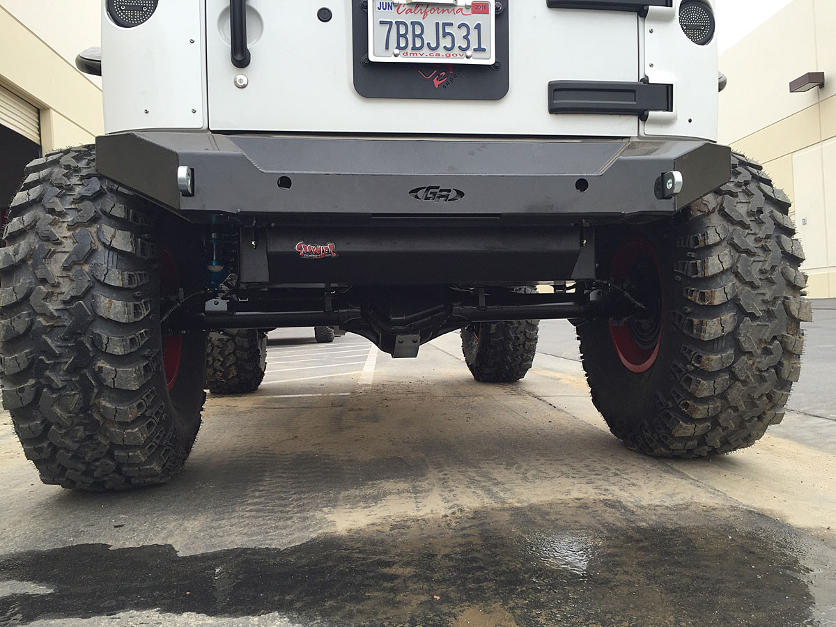 Here you can see the tank tucks up nicely under the rear section of the Jeep