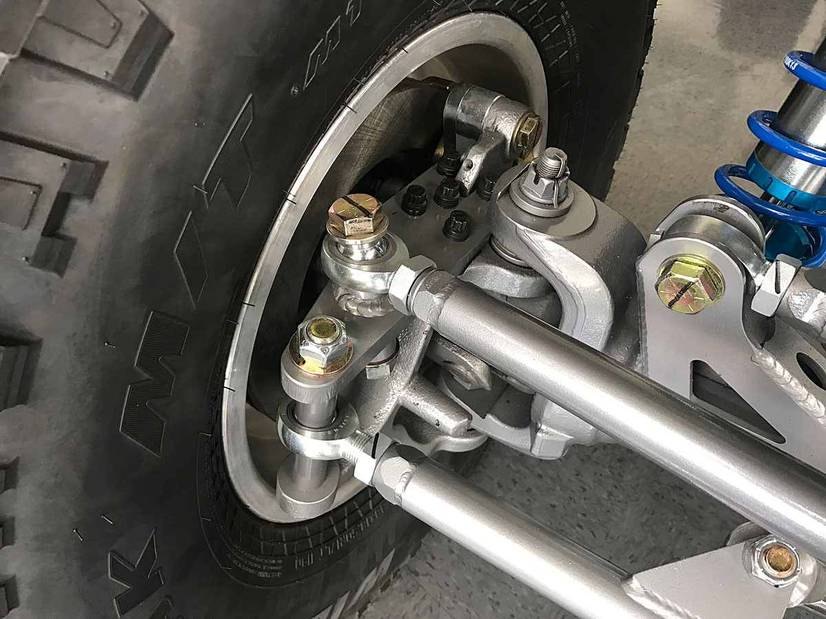 Jam nut shown here on steering tie rod and drag link with Heims