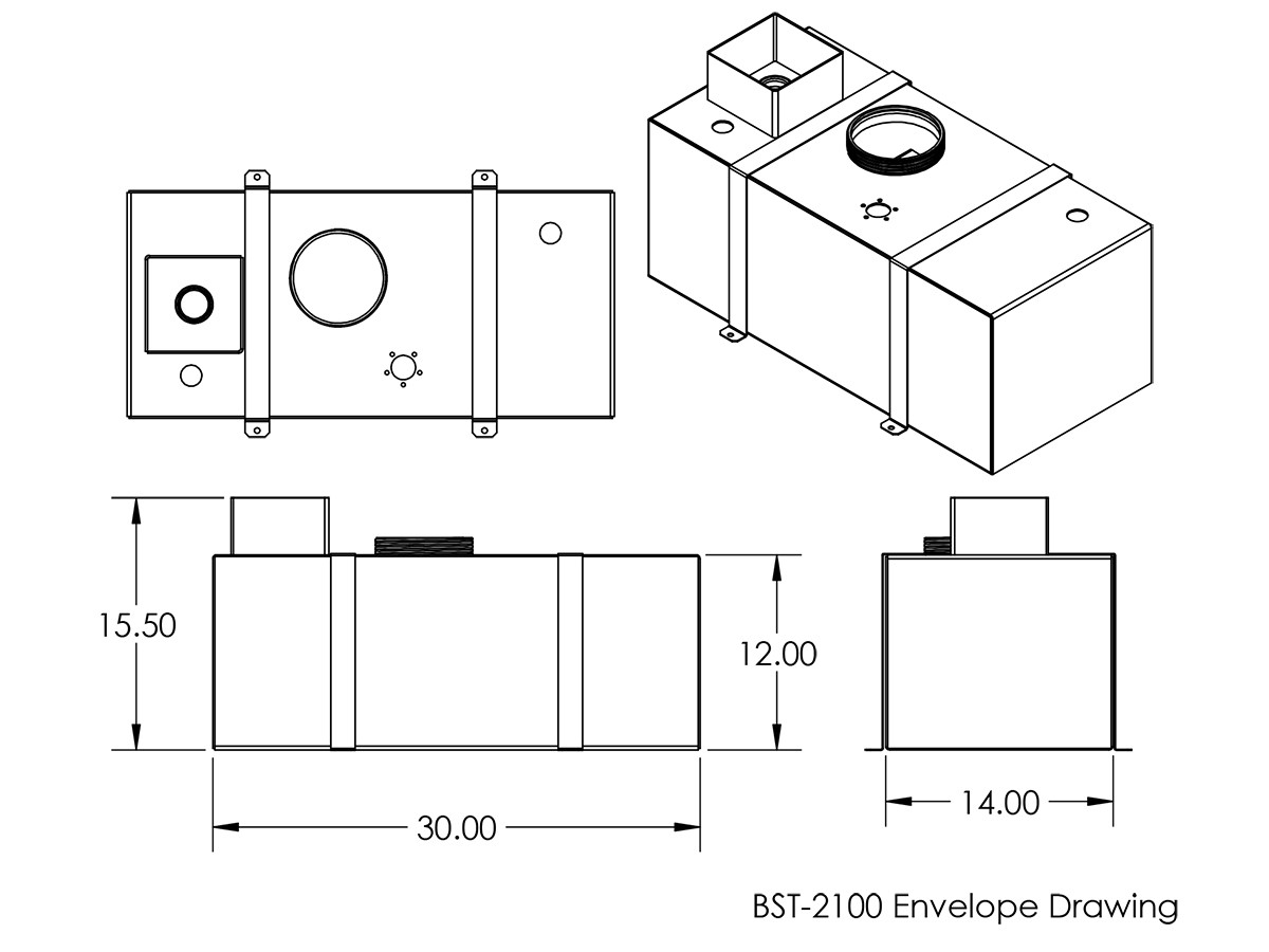 Diagram of the BST-2100 with dimensions