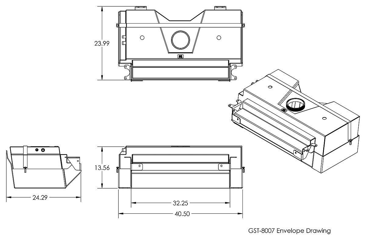Dimensions of the GenRight 36 gallon Fuel tank for the Elite Suspension