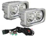 Optimus Dual Square Silver 10W LEDs 10° Narrow Beam (Kit, 2 Lights)
