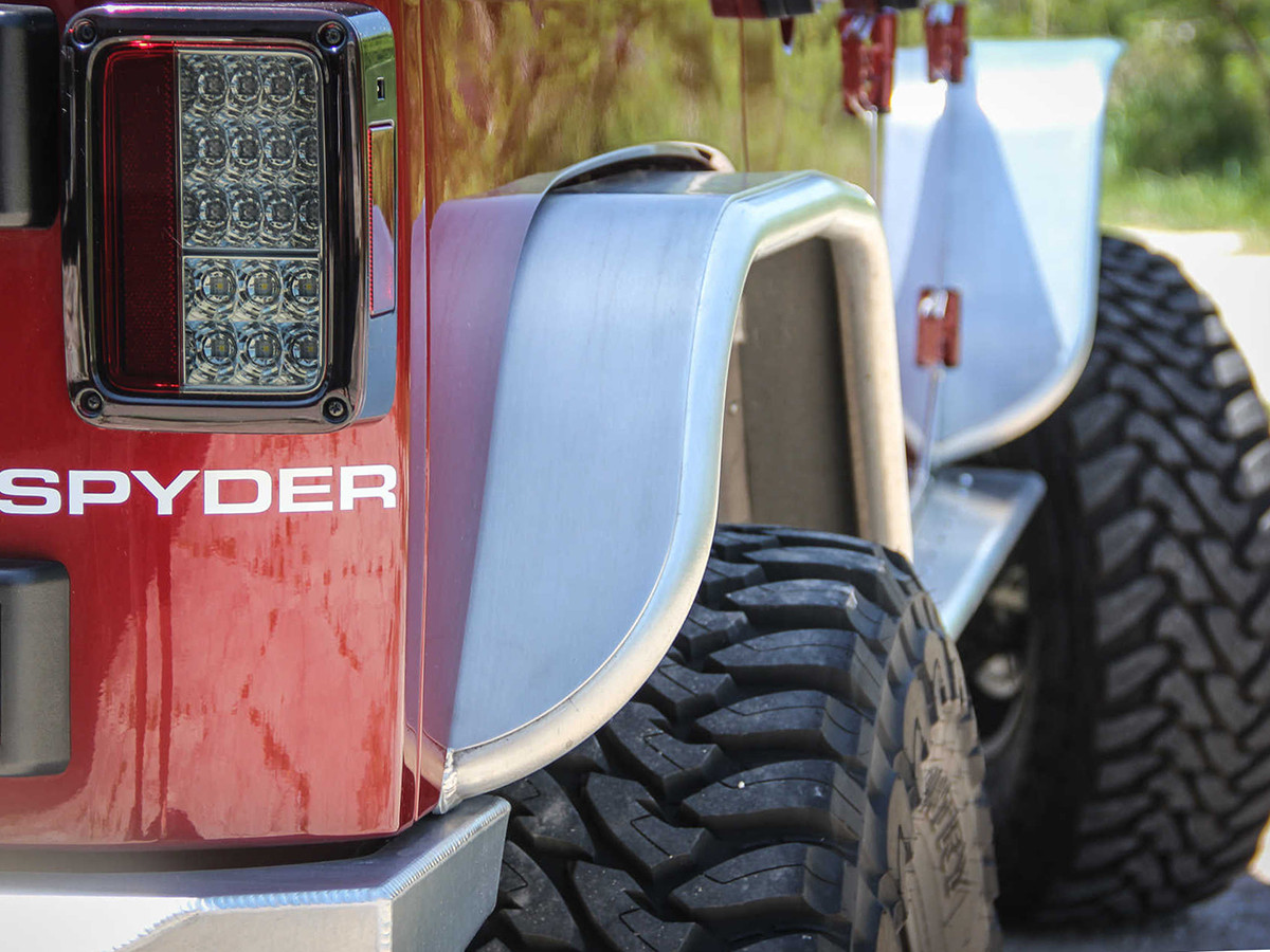 The GenRight tube flares are the same width as your stock plastic fenders