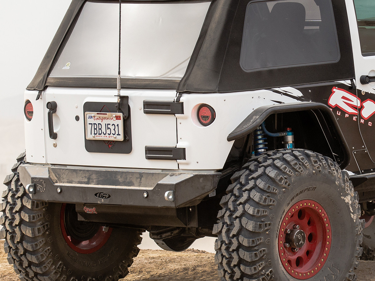 """JK Stretch Corner Guard with 42"""" IROK tires, shown with GenRight EXT rear flares"""