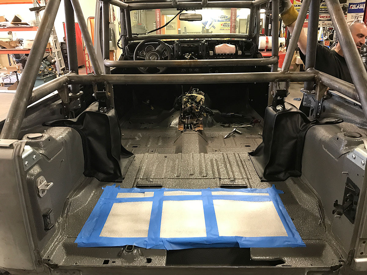 Rear view of the rear tower tie in kit to the GenRight JK roll cage.