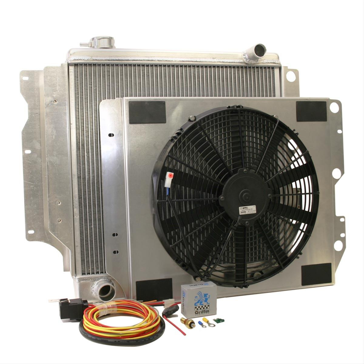Griffin Heavy Duty Jeep Radiator with fan, shroud and accessories, 1987 - 2006