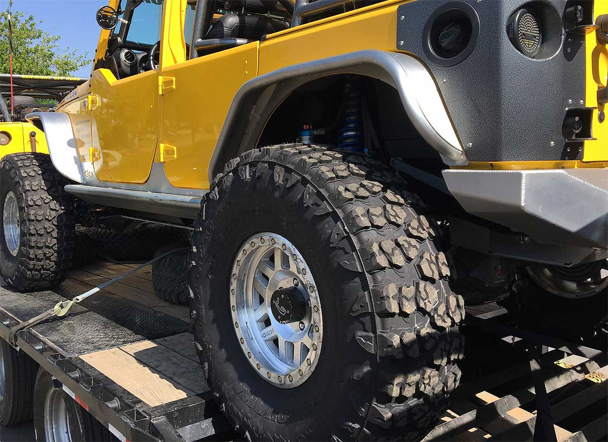 """The KMC XD228 is shown here with a 40"""" M/T tire."""