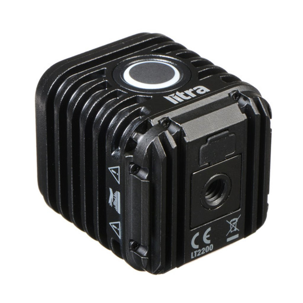 Back side of the Litra LED cube light