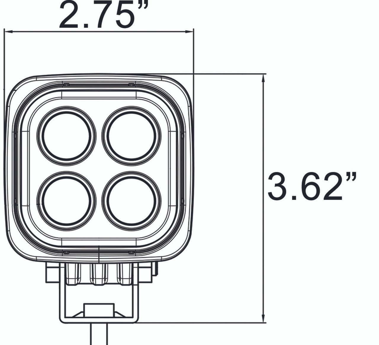 Dimensions of the Vision X Dura Mini LED Light