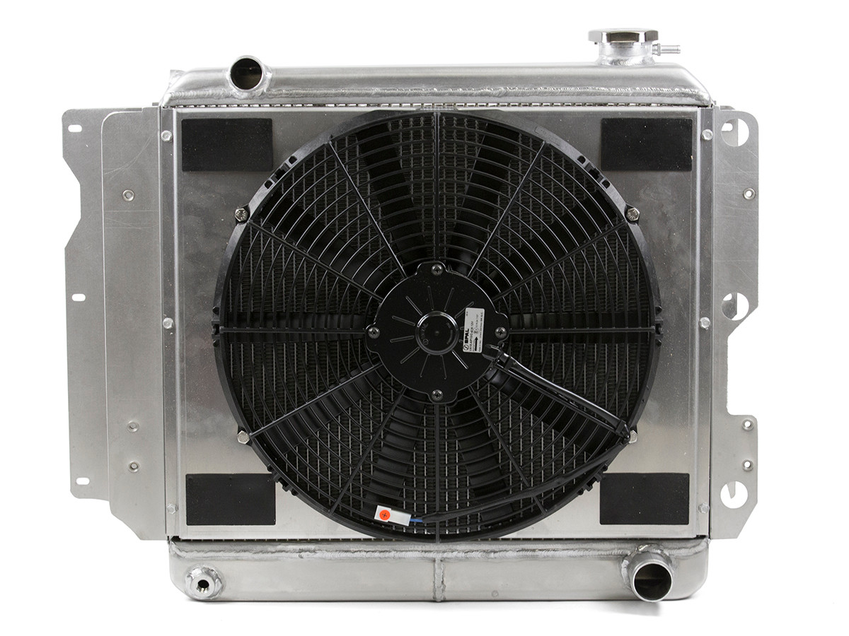 Rear view of the Griffin Heavy Duty Jeep Radiator w/ GM Outlets 1987 - 2006