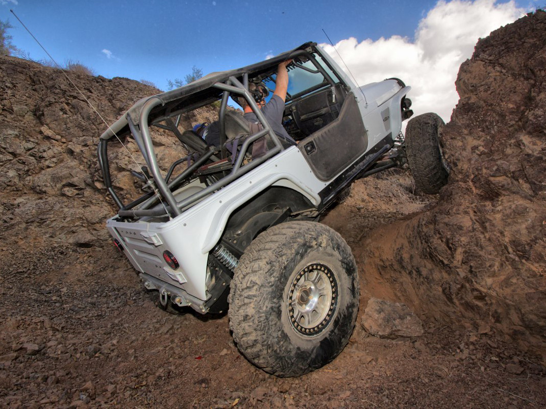 """Rear view of the 4"""" Flare Extreme Rear Flares on Brian's """"Evny"""" TJ, Steel"""