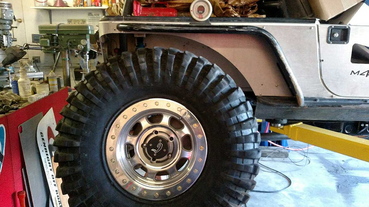 """4"""" wide steel Comp flare on stretched Jeep"""