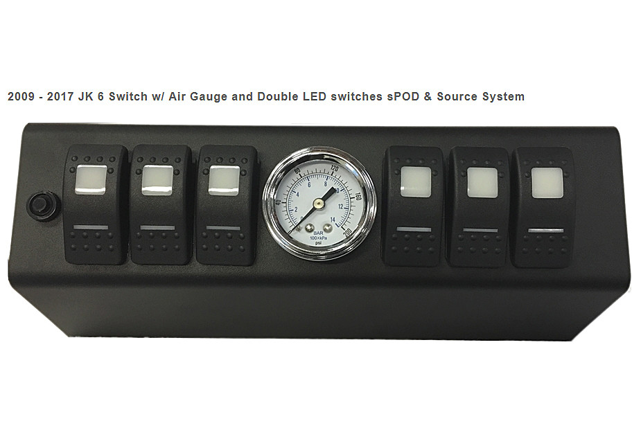 Close up of the sPOD kit with 6 LED double lit switches and air gauge