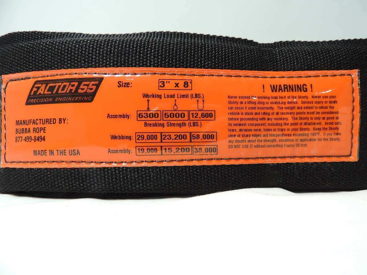 Factor 55 Tree Strap label details