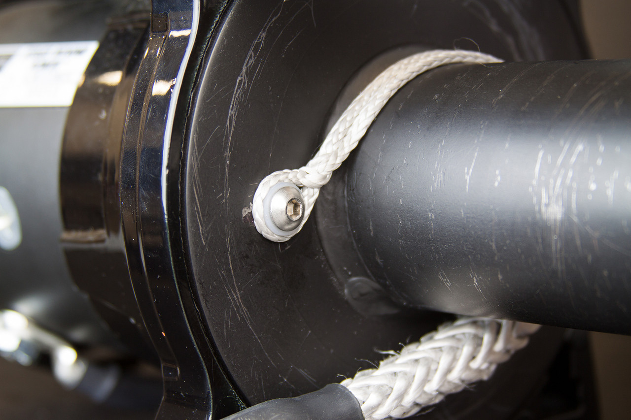Smaller rope fits over the bolt on the drum easily