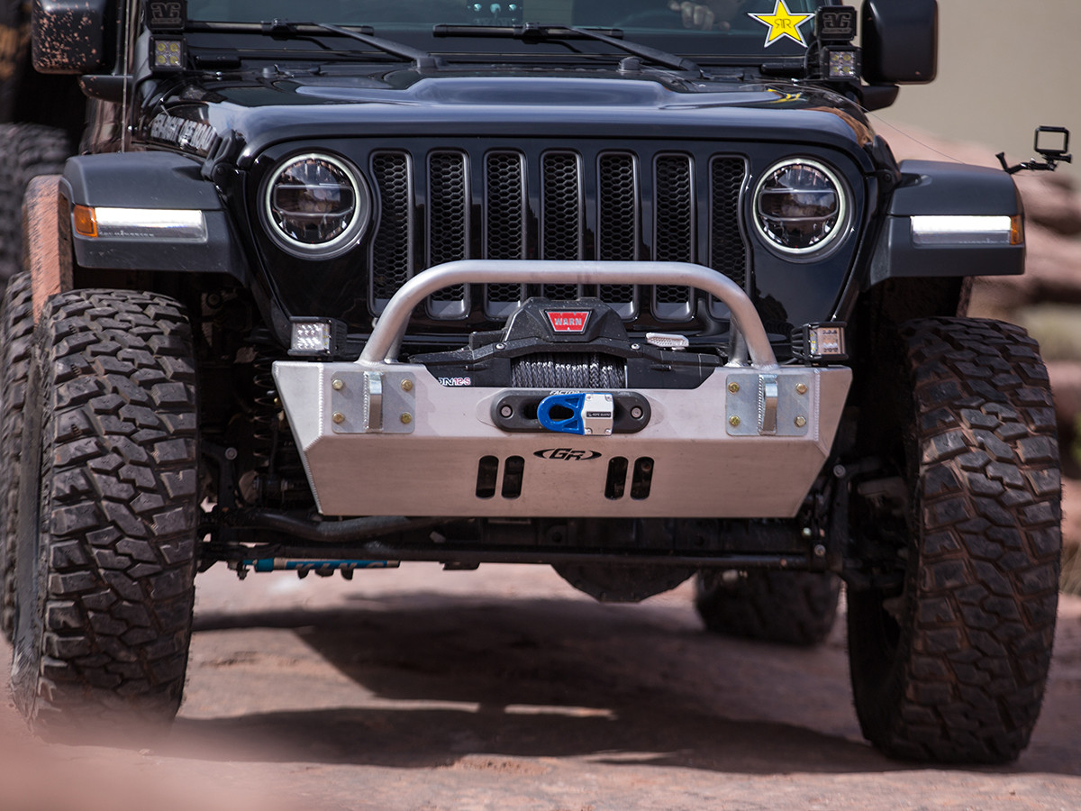 The all new Jeep Wrangler JL Front Bumper protects the factory sway bar