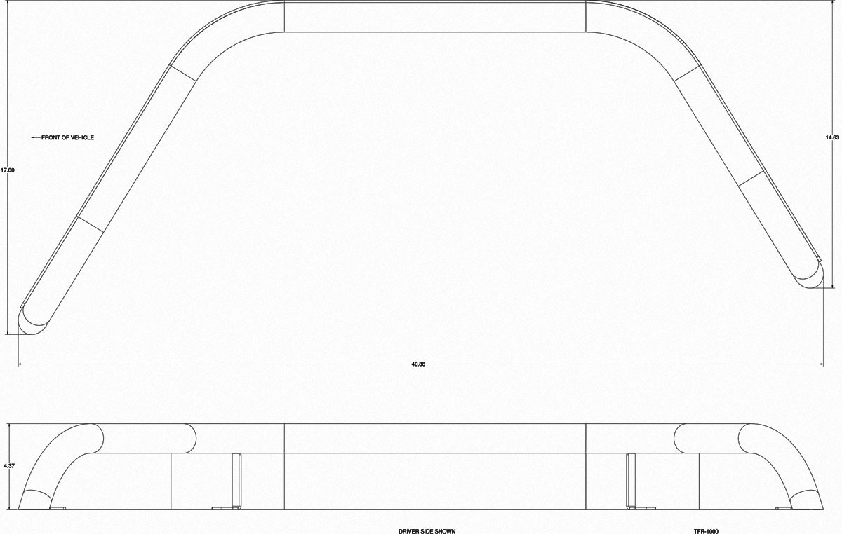 """Basic dimensions for the GenRight 4"""" wide rear tube flare in steel or aluminum"""