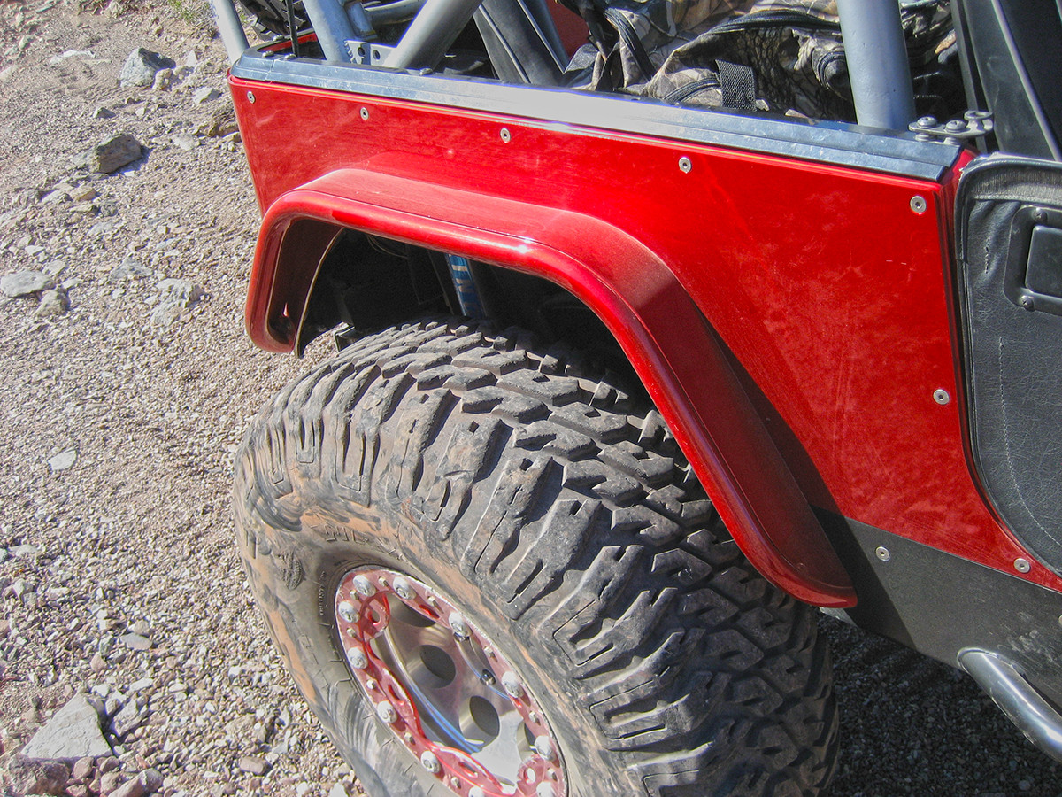 "Jeep TJ/LJ/YJ/CJ 4"" Flare Rear Tube Fenders - Steel Painted Red"