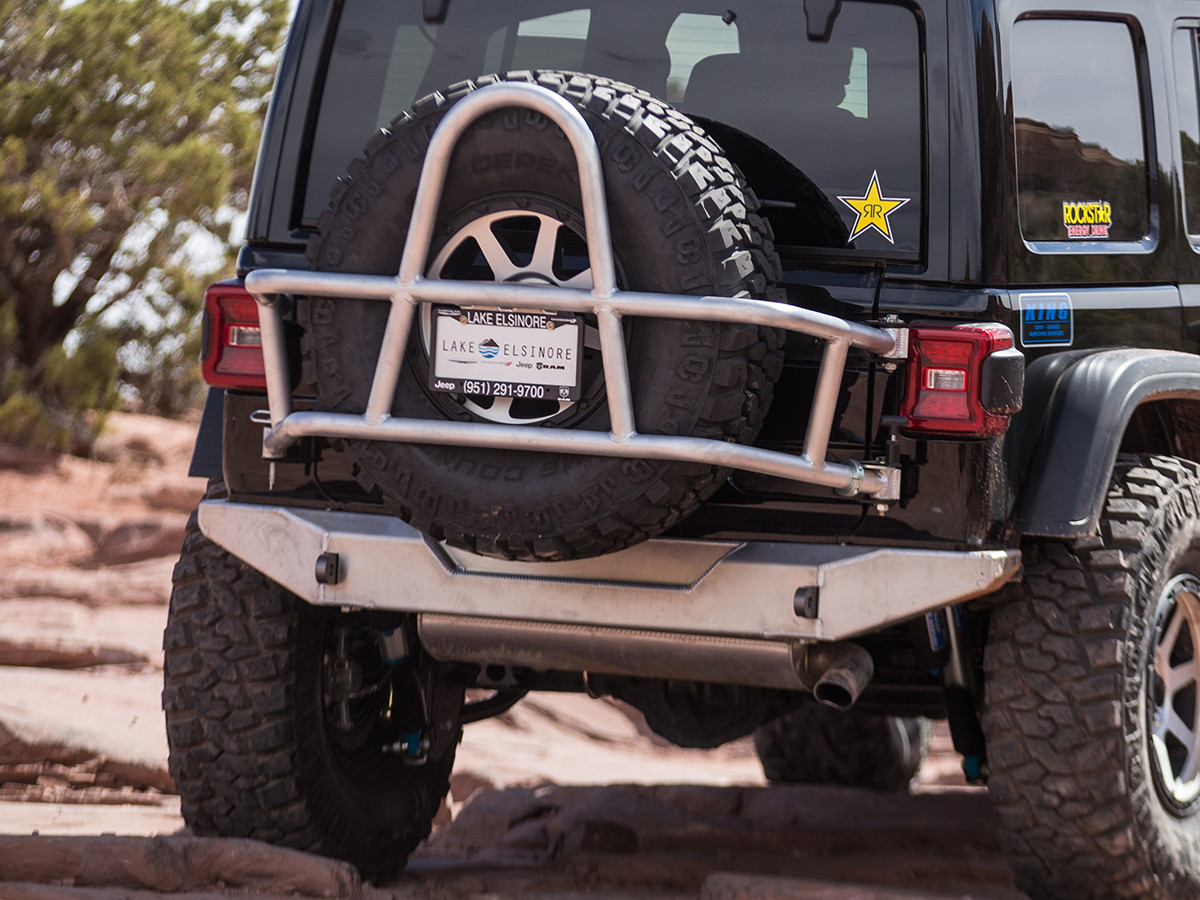 "Tire Carrier shown here w/a 37"" tire and GenRight's Jeep Wrangler JL Rear Bumper"