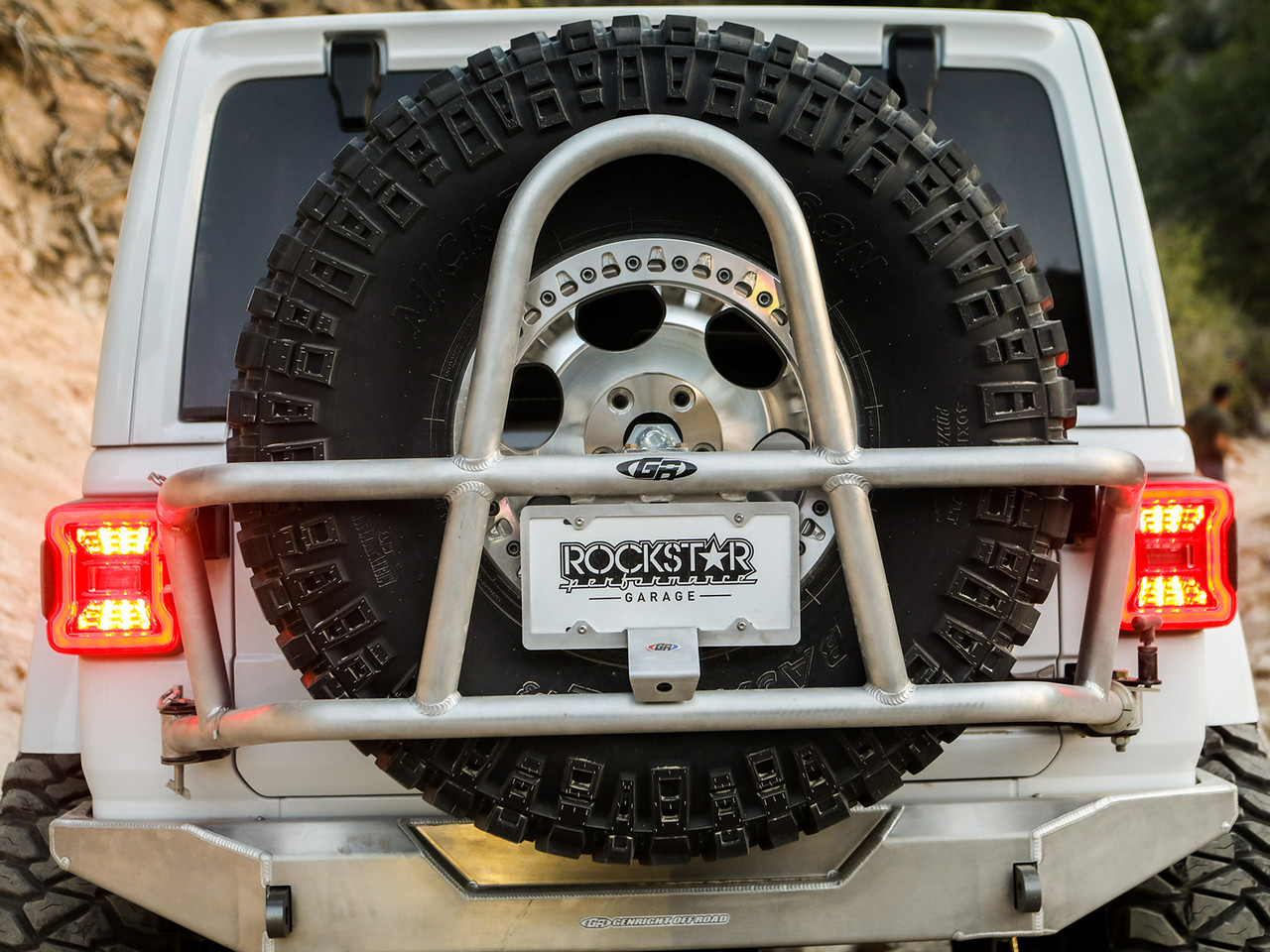 "Shown with a 40"" tire and GenRight's camera relocation license plate frame"