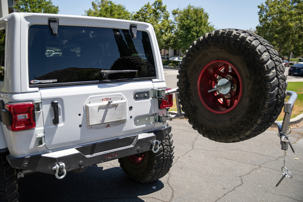 How the Jeep JL Swing Out Rear Tire Carrier looks open - Aluminum