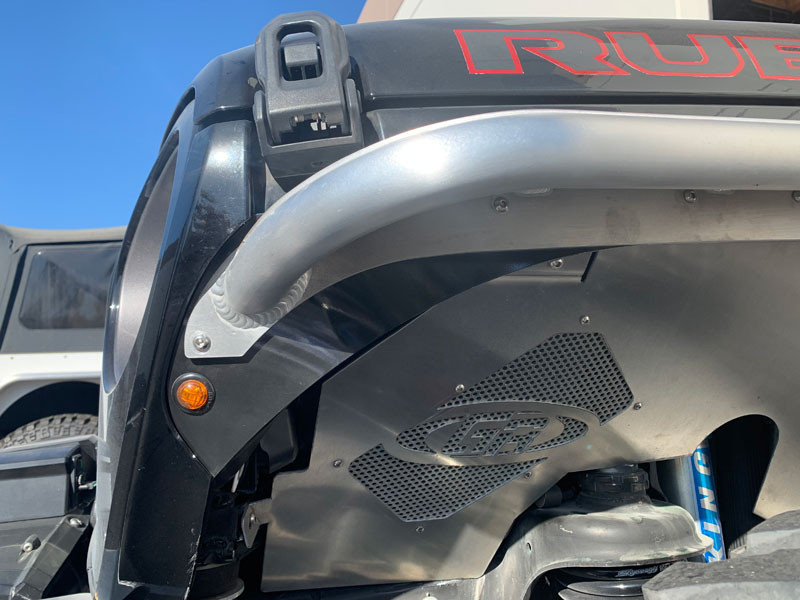 Close Up of how cleanly we mount the side marker light at the grill on the JL & JT