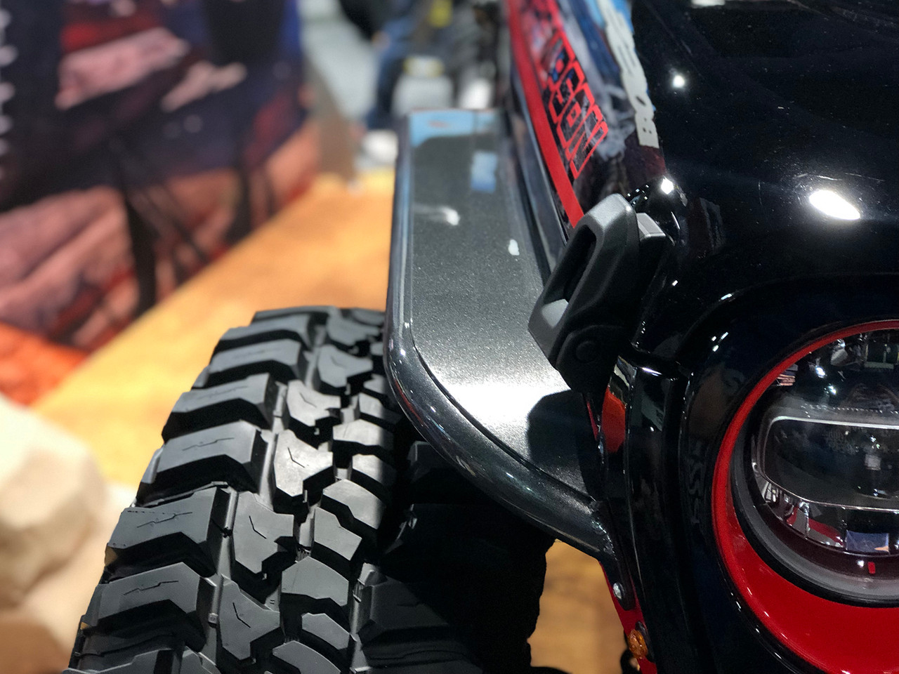 "Here you can see how the fender tapers with the hood for off-road performance with a 40"" tire"