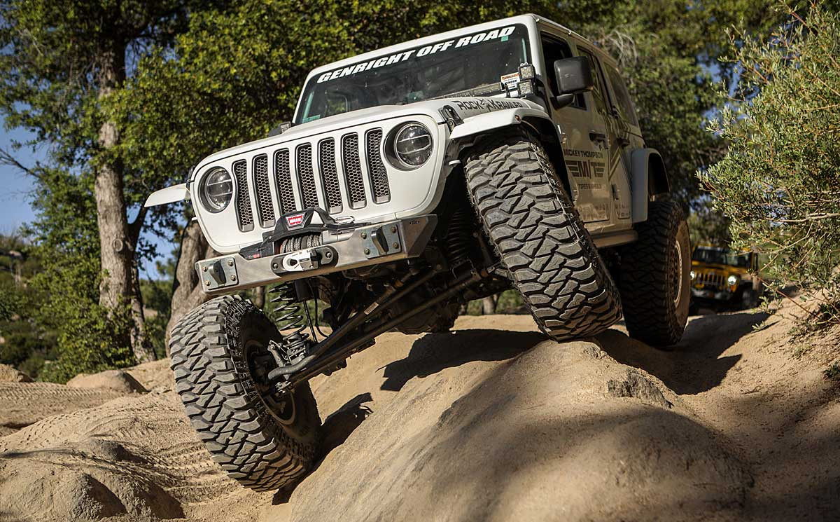 """Shown here the the Ultra Clearance bumper on the JL with 40"""" tires"""