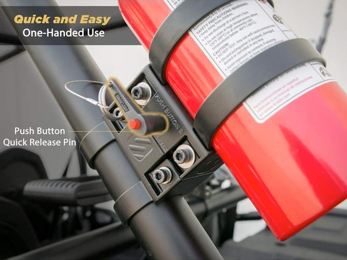 Simple one button Quick-Release pin on Fire Extinguisher Mount