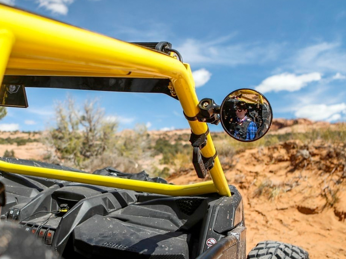 """5"""" Round Convex Side Mirror, shown here on SXS cage tube"""