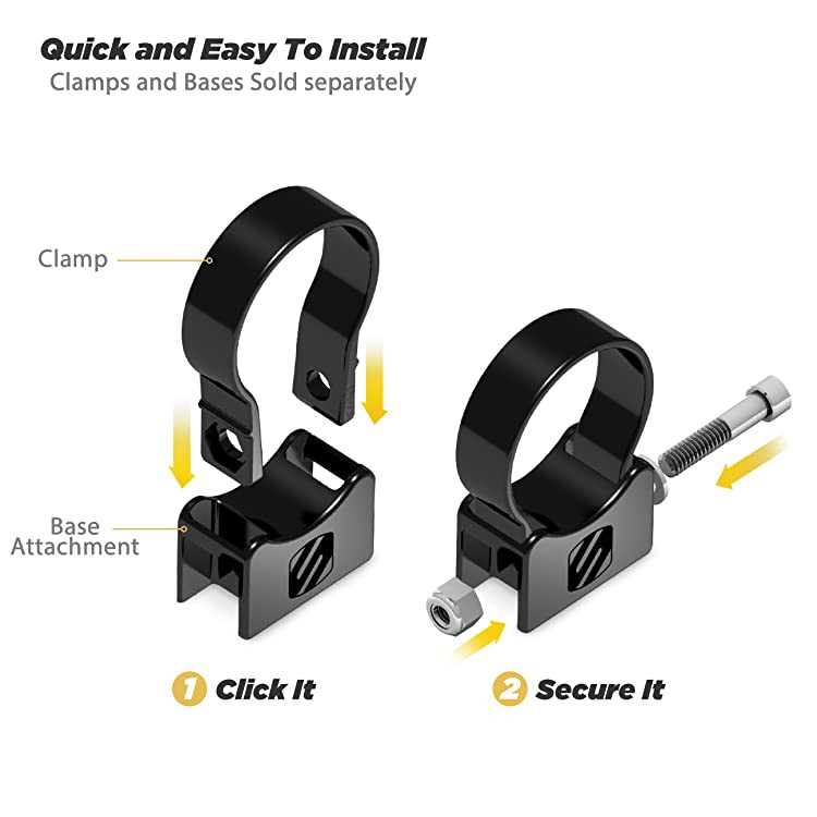 The tube clamp clicks into the base for a simple one person installation