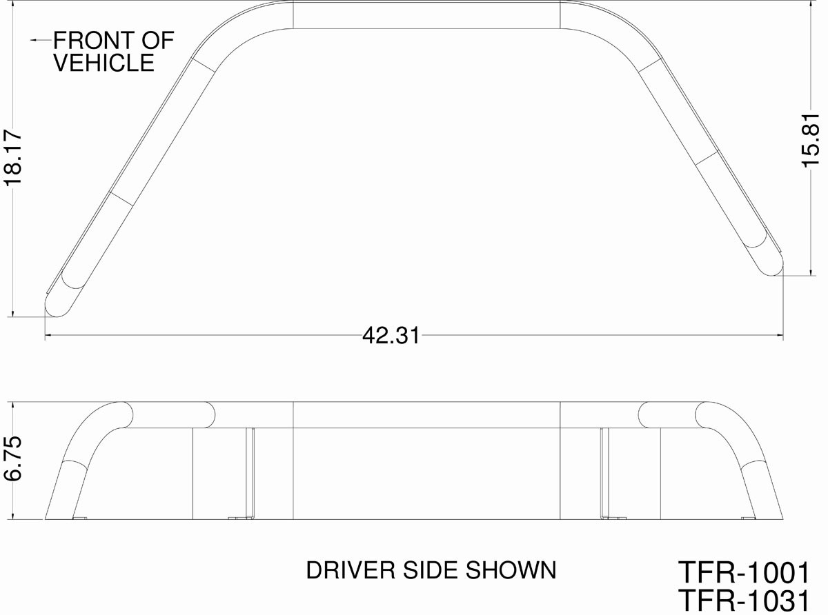 """Basic dimensions of the GenRight 6"""" wide rear flares"""