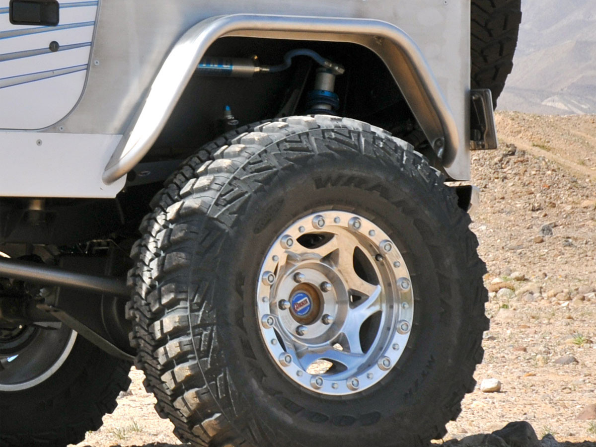"""4"""" wide Aluminum Rear Tube Flares on Jeep with 37"""" MTR tires"""