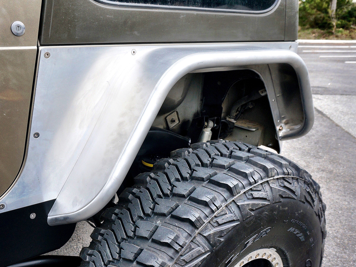 "Aluminum 6"" fender mounted to a set of corner guards"