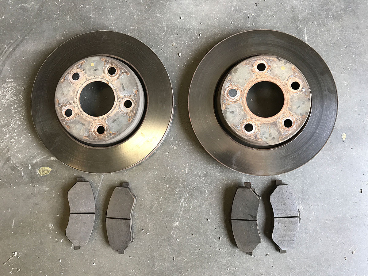 Factory Jeep JK front rotors and pads
