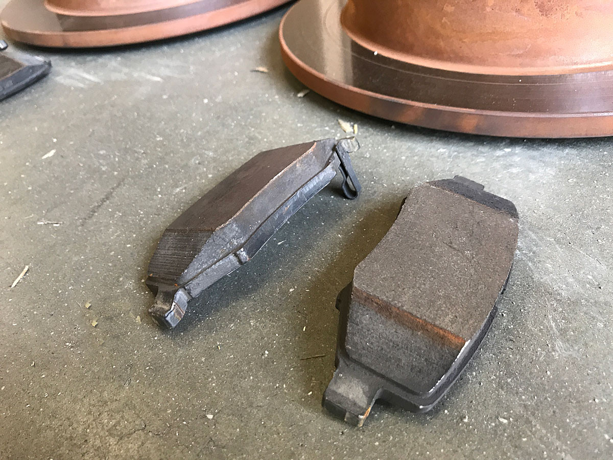 Close up shows there is plenty of meat left on these brake pads