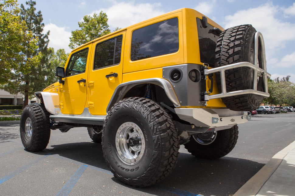 """GenRight Aluminum Jeep JK rear tube flare with 40"""" tires."""