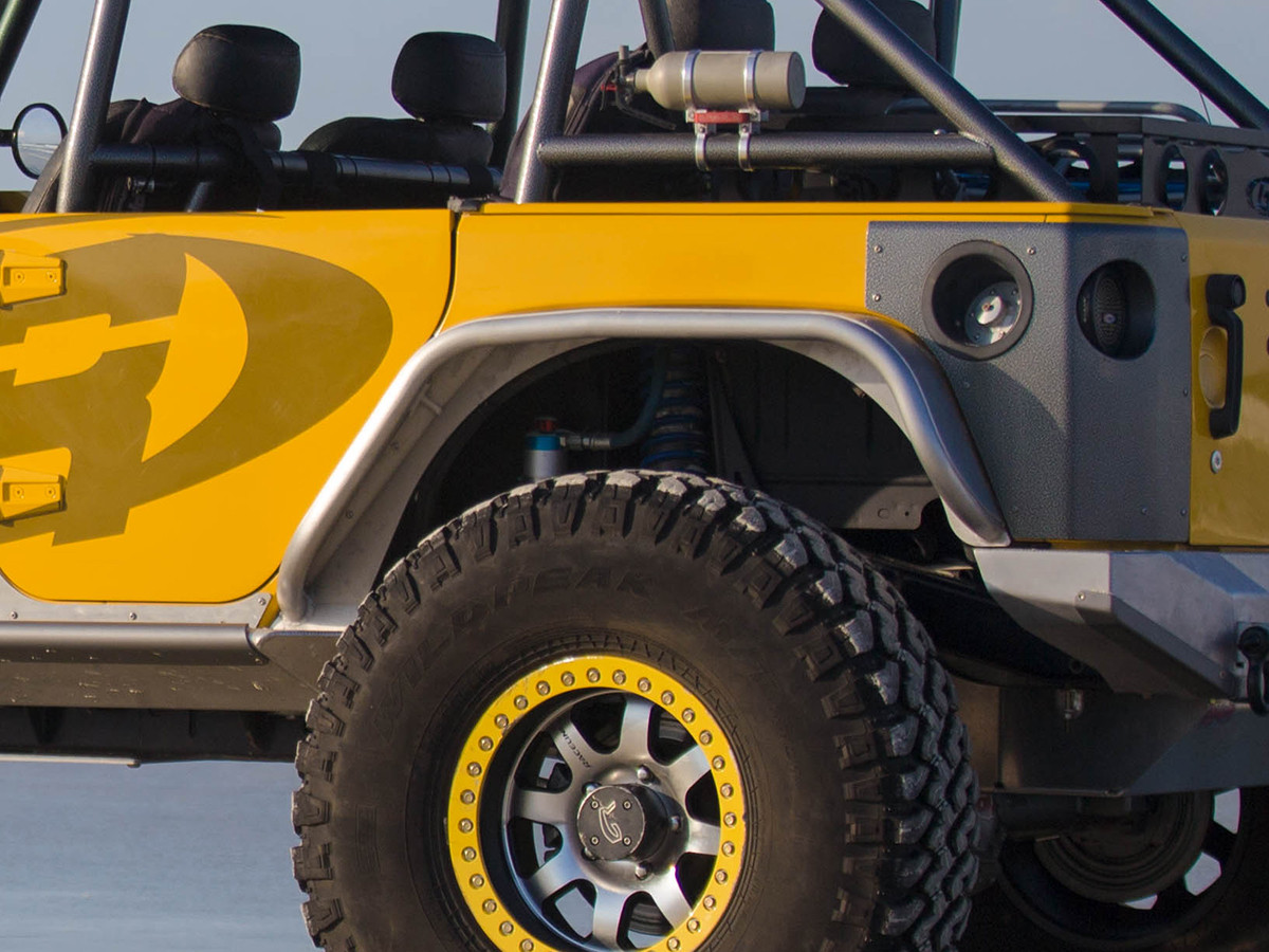 """Jeep JK 4"""" Flare Rear Tube Fenders - Aluminum with 38"""" tires"""