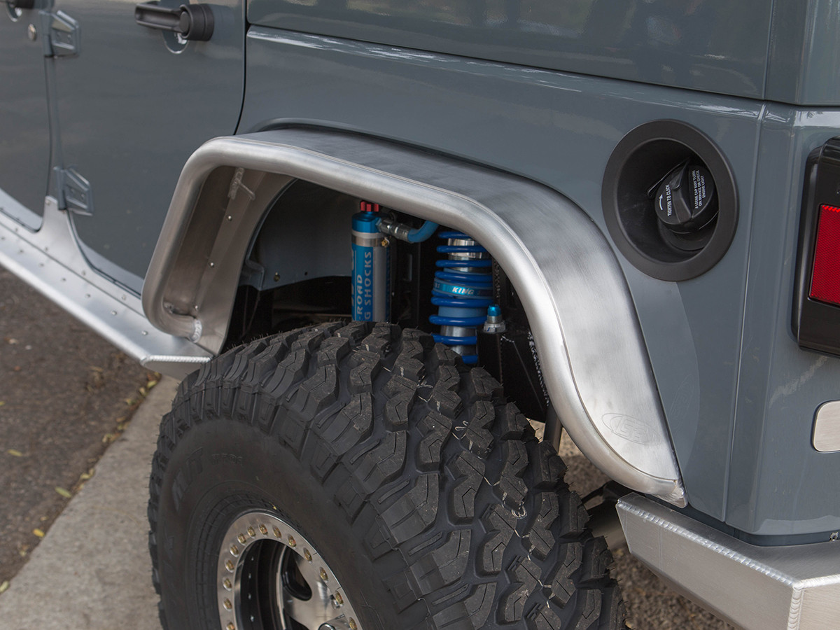 """Jeep JK 4"""" Flare Rear Tube Fenders - Aluminum with 37"""" tires"""