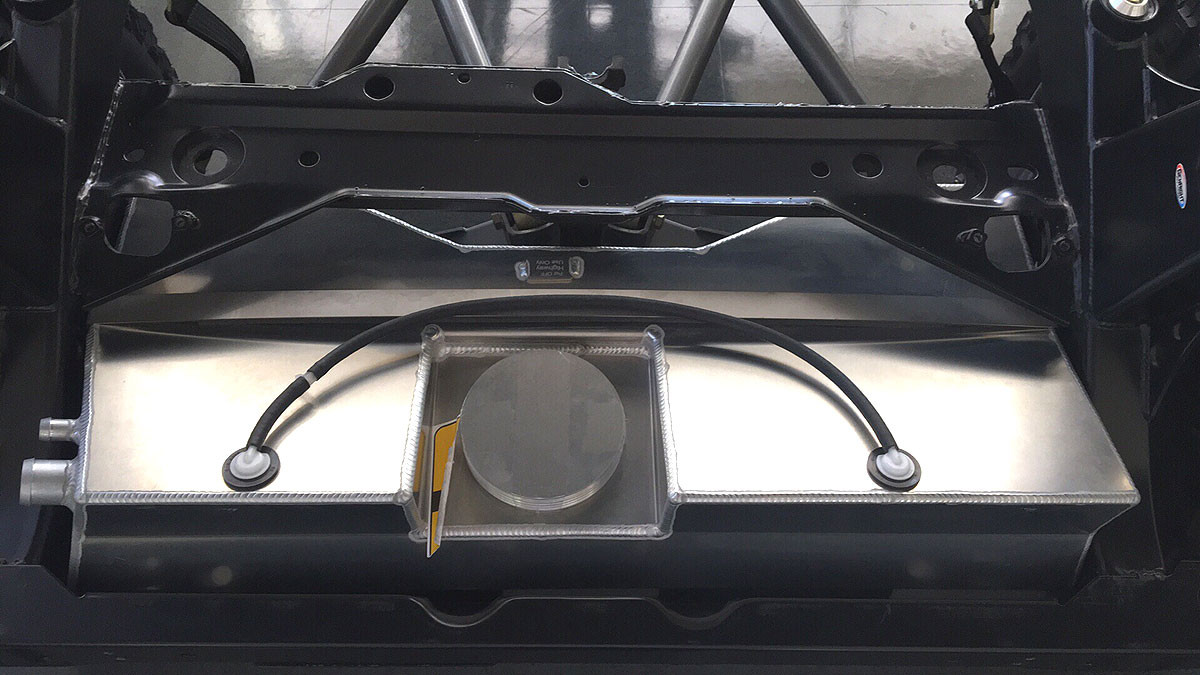 Top view of the COMP tank installed in the Jeep TJ frame