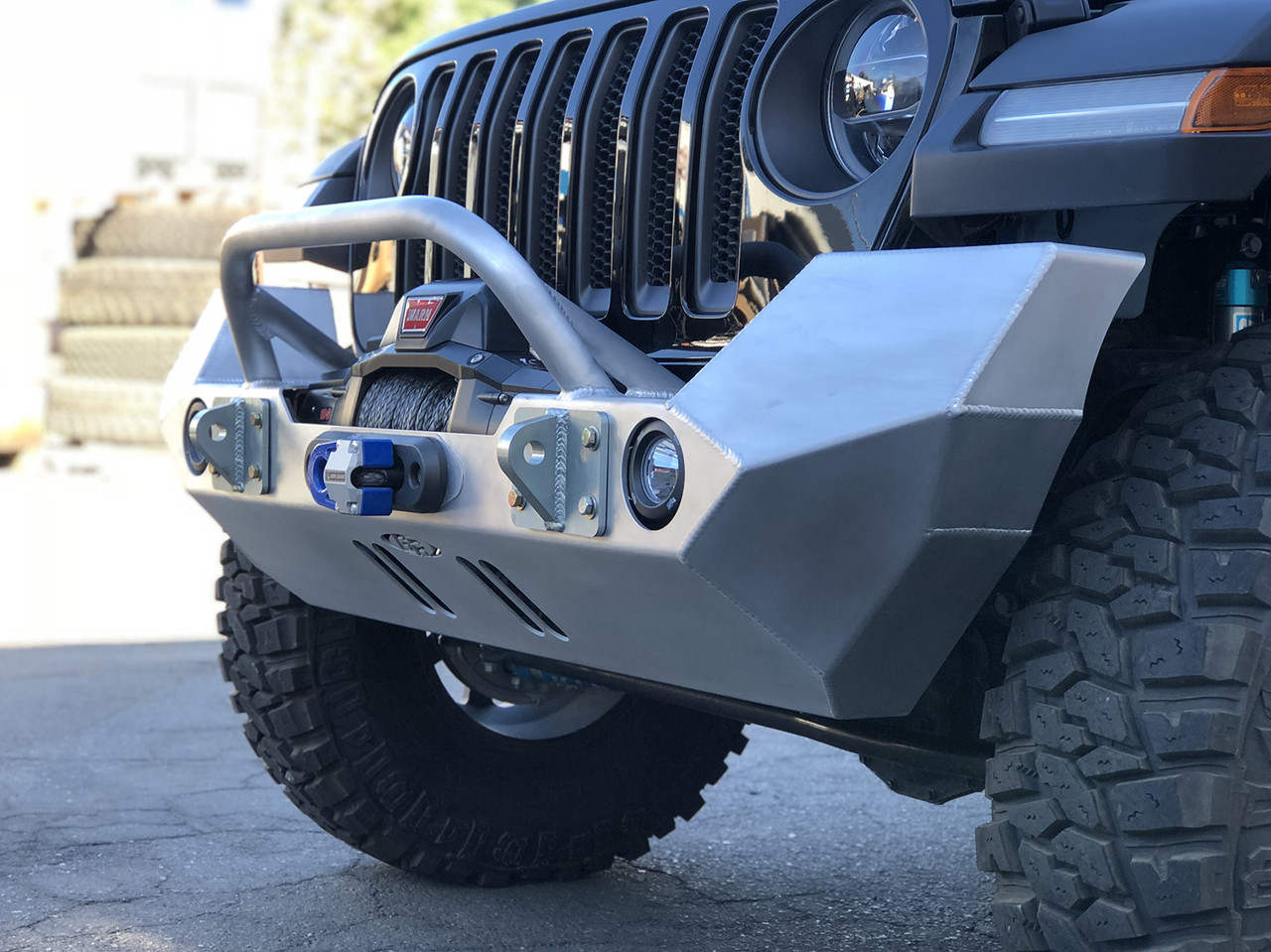 Jeep Wragler JL Full Width Front Bumper w/ Winch Guard Bar - Aluminum