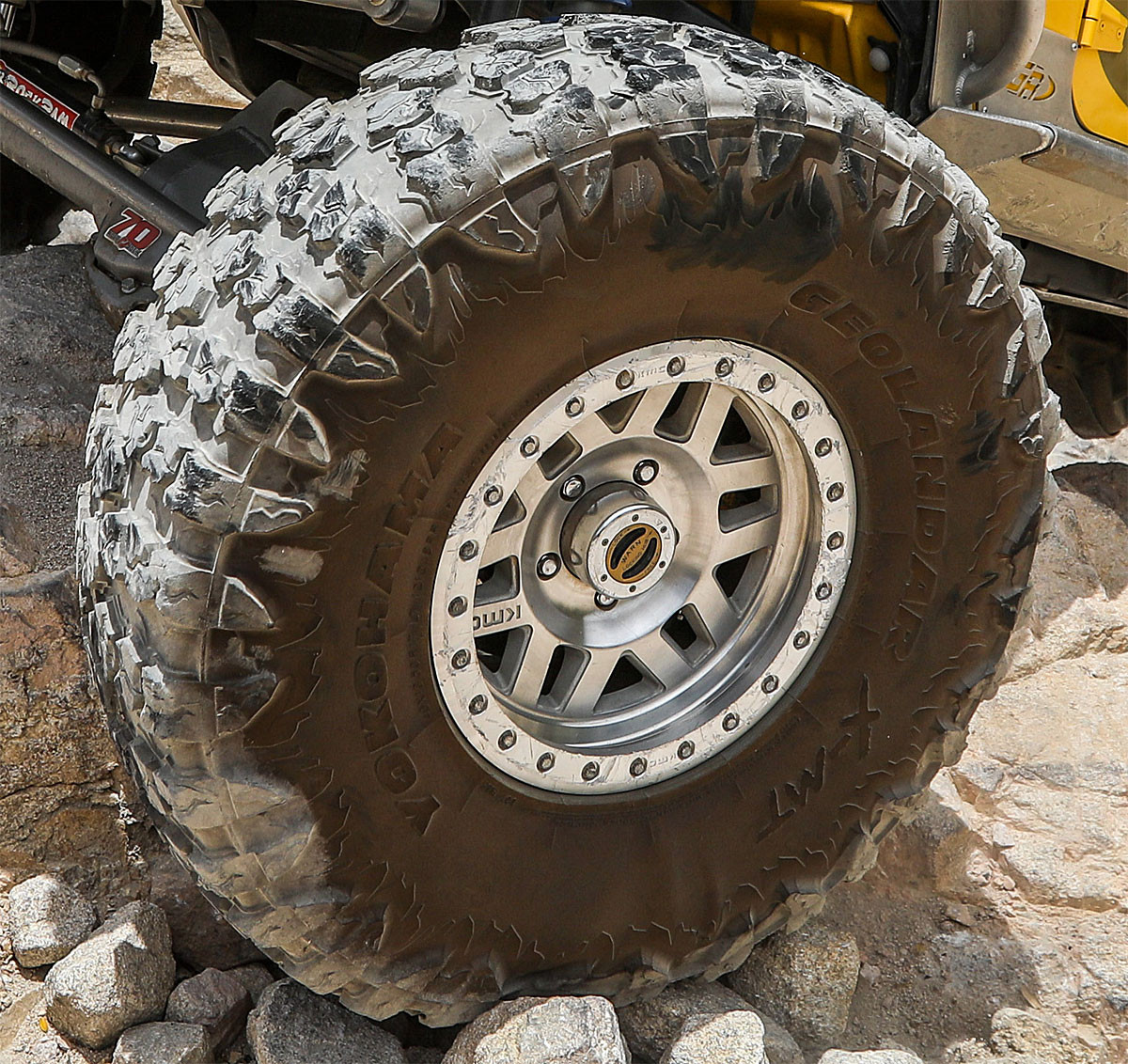 "40"" Yokohama X-MT tire on the trail (shown here with KMC Machette wheel)"