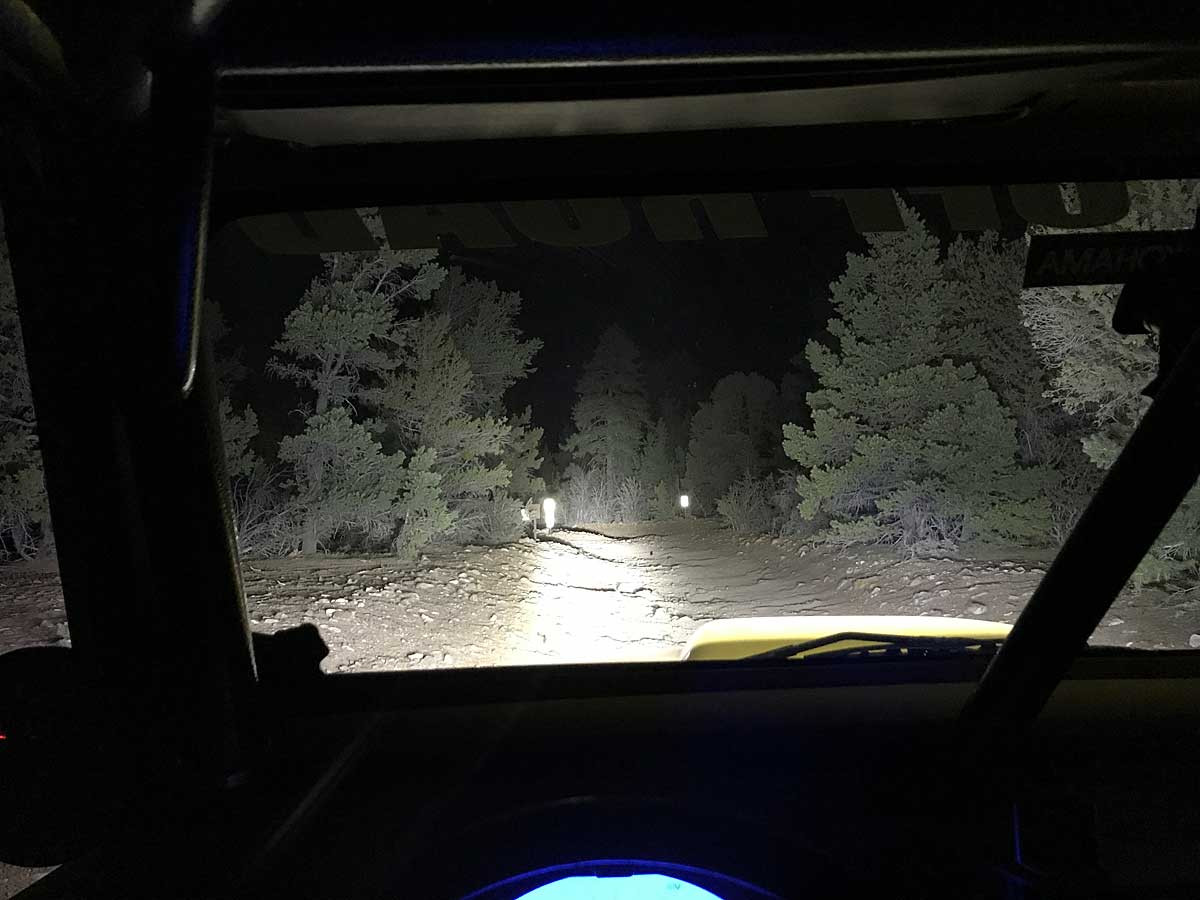 How the light looks from the drivers seat!