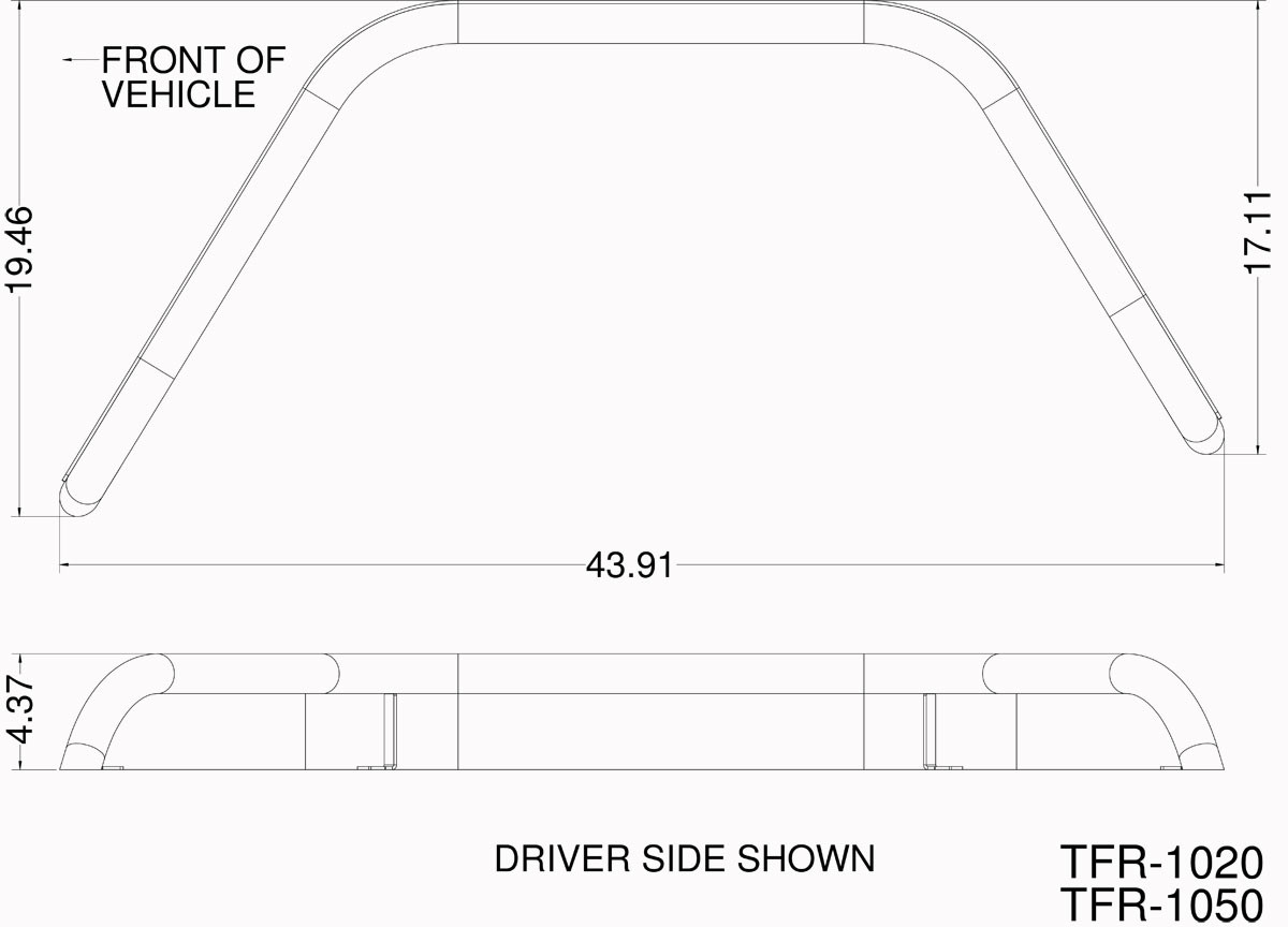 "Basic dimensions for the GenRight 4"" wide rear Hi-Fender flares."