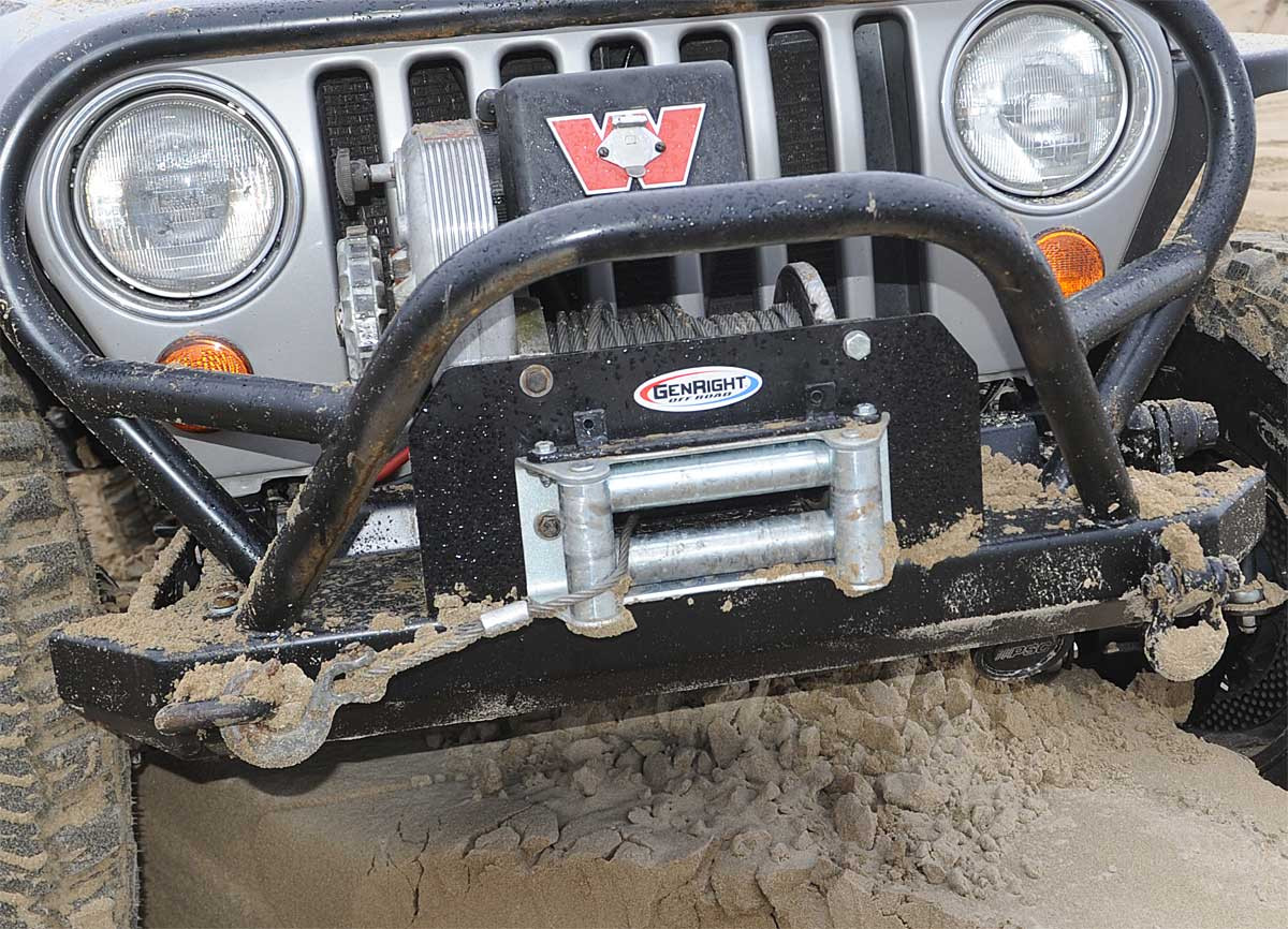 Close up of the Warn 8274 Heavy Duty Winch Mount from GenRight Off Road