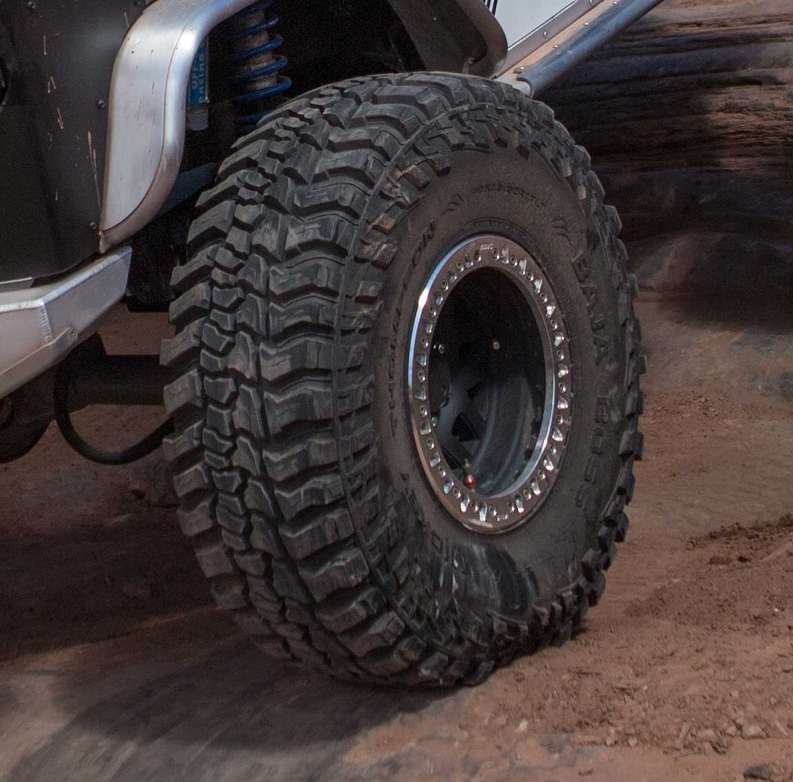 The Boss tire mounted on a KMC wheel and on the trail!