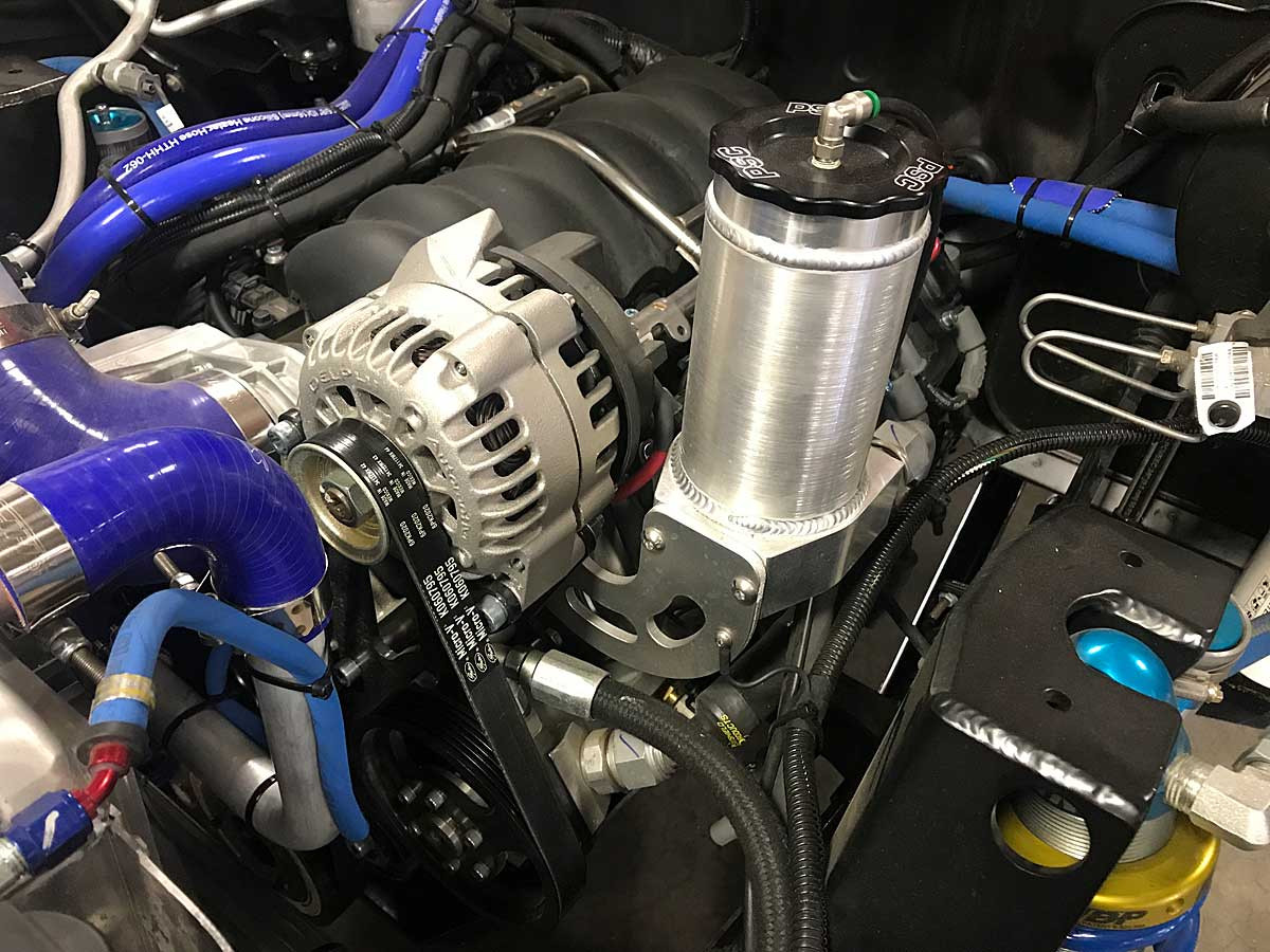 Shown here installed on an LS3 with remote steering res above the pump